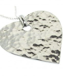 Heart pendant in Cornish tin, hammered finish