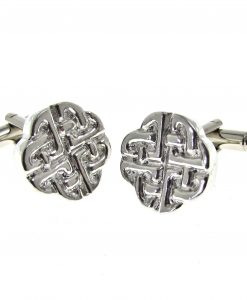 Celtic knotwork cuff links cast in Cornish tin