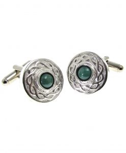 Cornish tin cuff links with malachite stone setting.