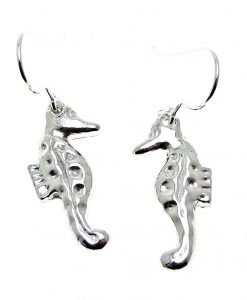Seahorse earrings in Cornish tin
