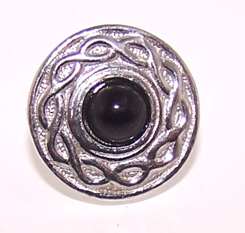 Lapel pin cast in Cornish tin with black agate stone setting