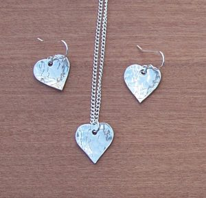 Heart earrings and pendant