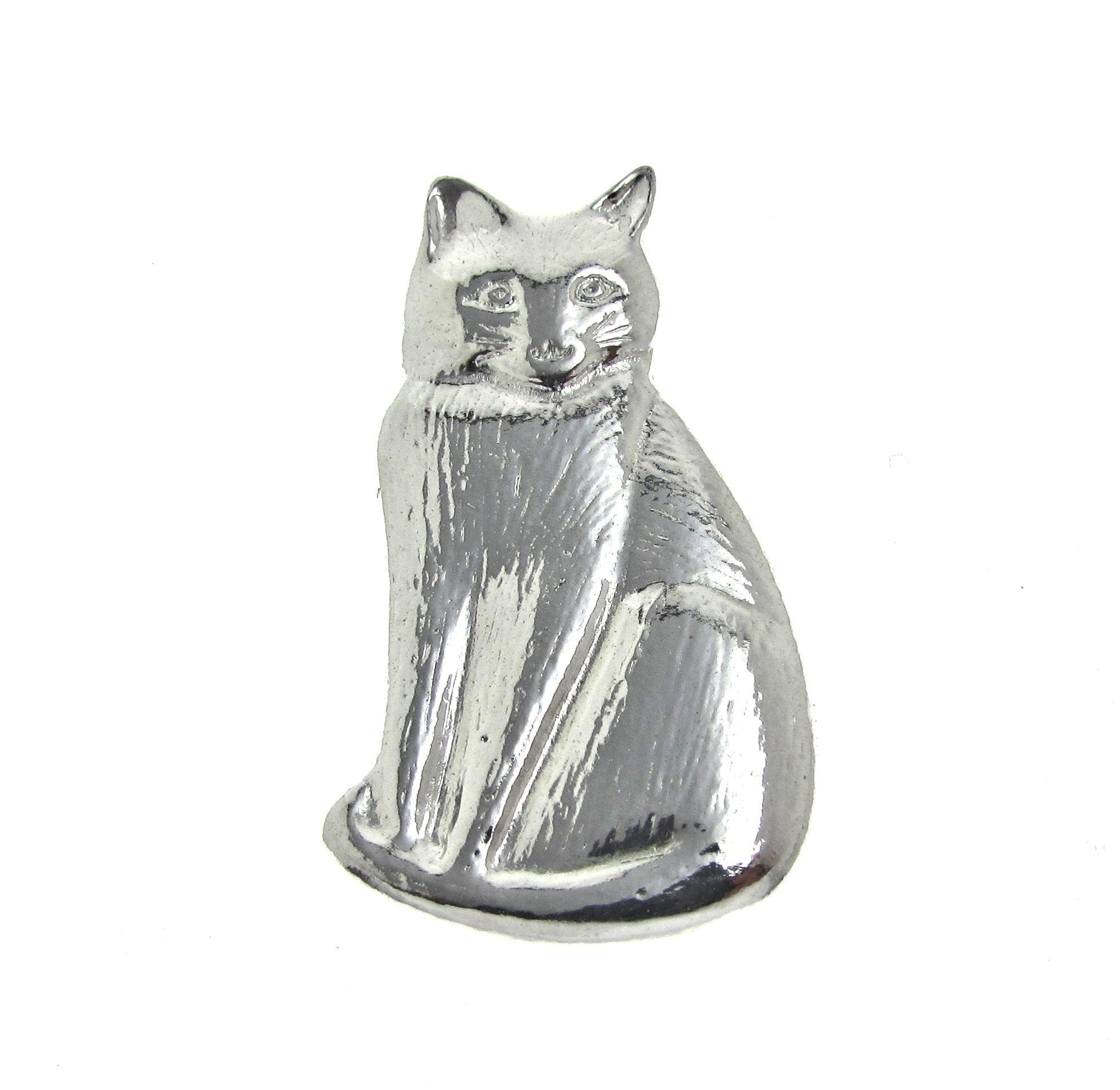 Cat brooch cast in Cornish tin