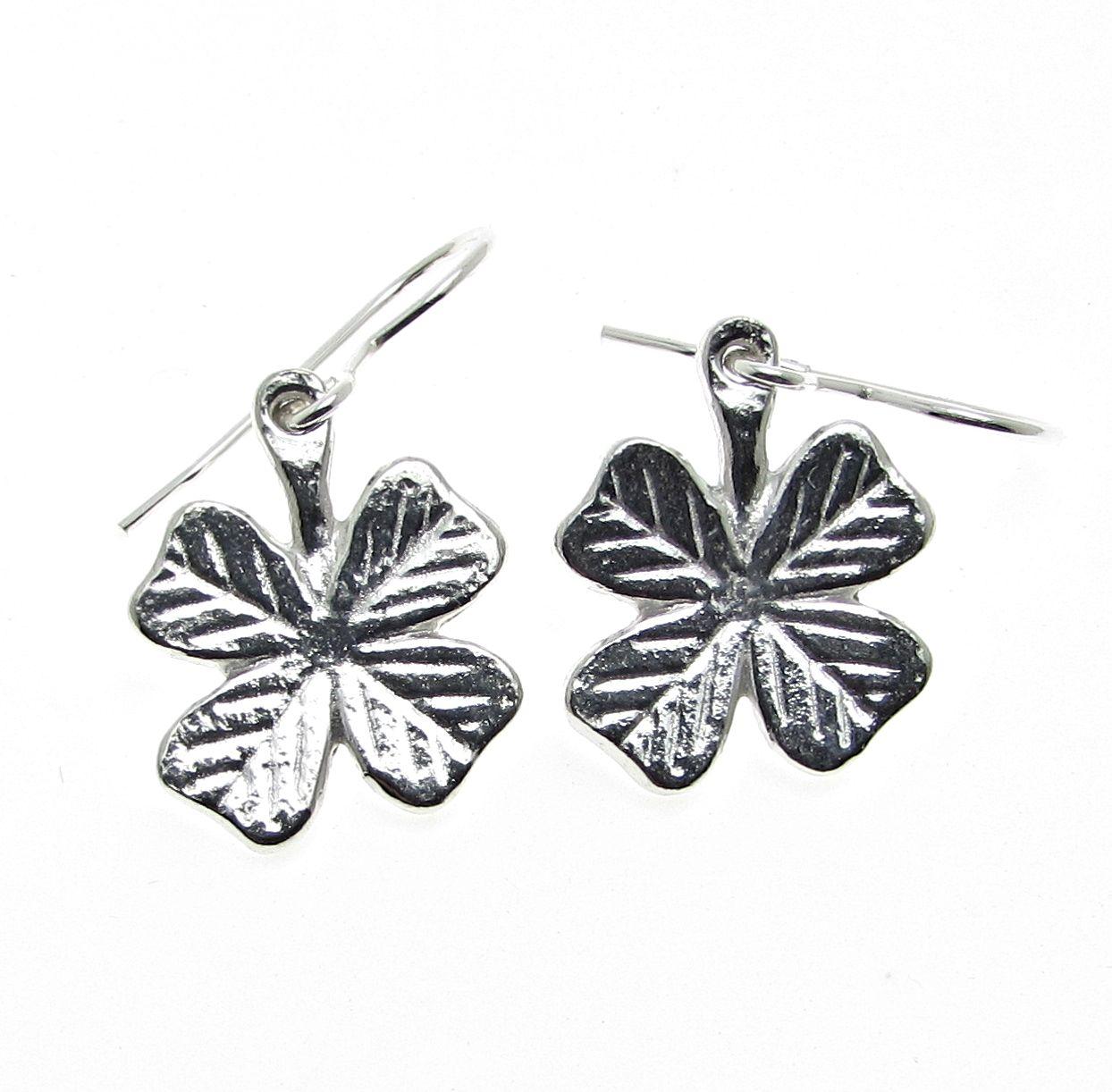 4 leaf clover earrings cast in Cornish tin
