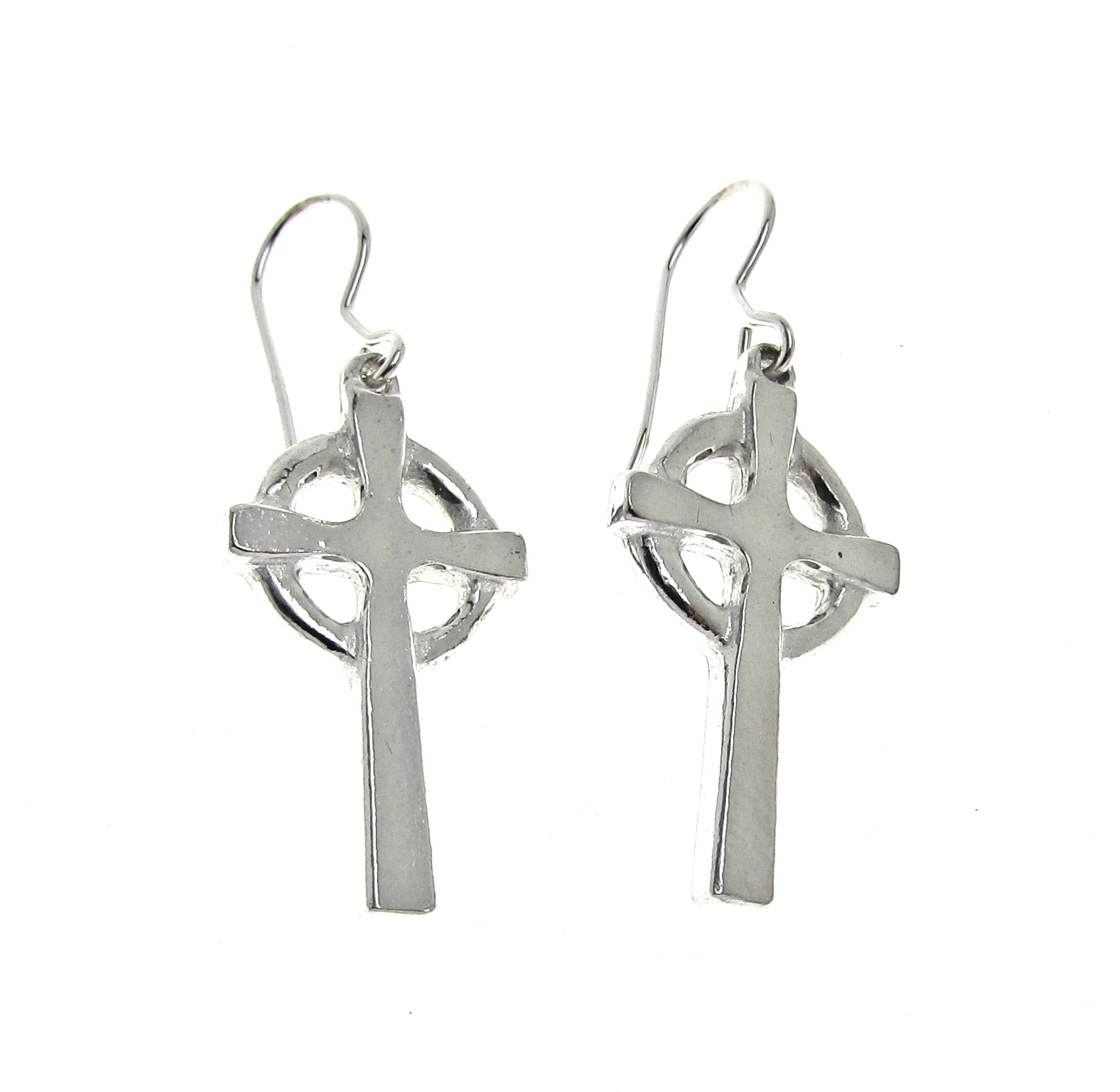 Celtic cross earrings cast in Cornish tin