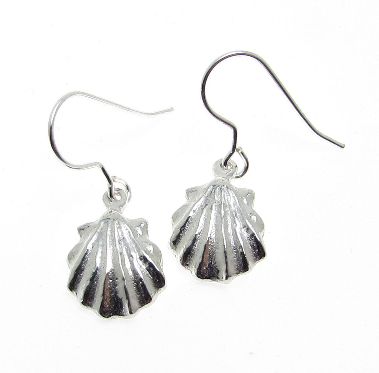 sea shell earrings cast in Cornish tin