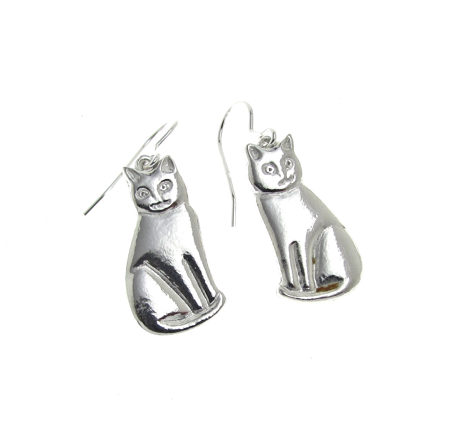 Cat earrings cast in Cornish tin