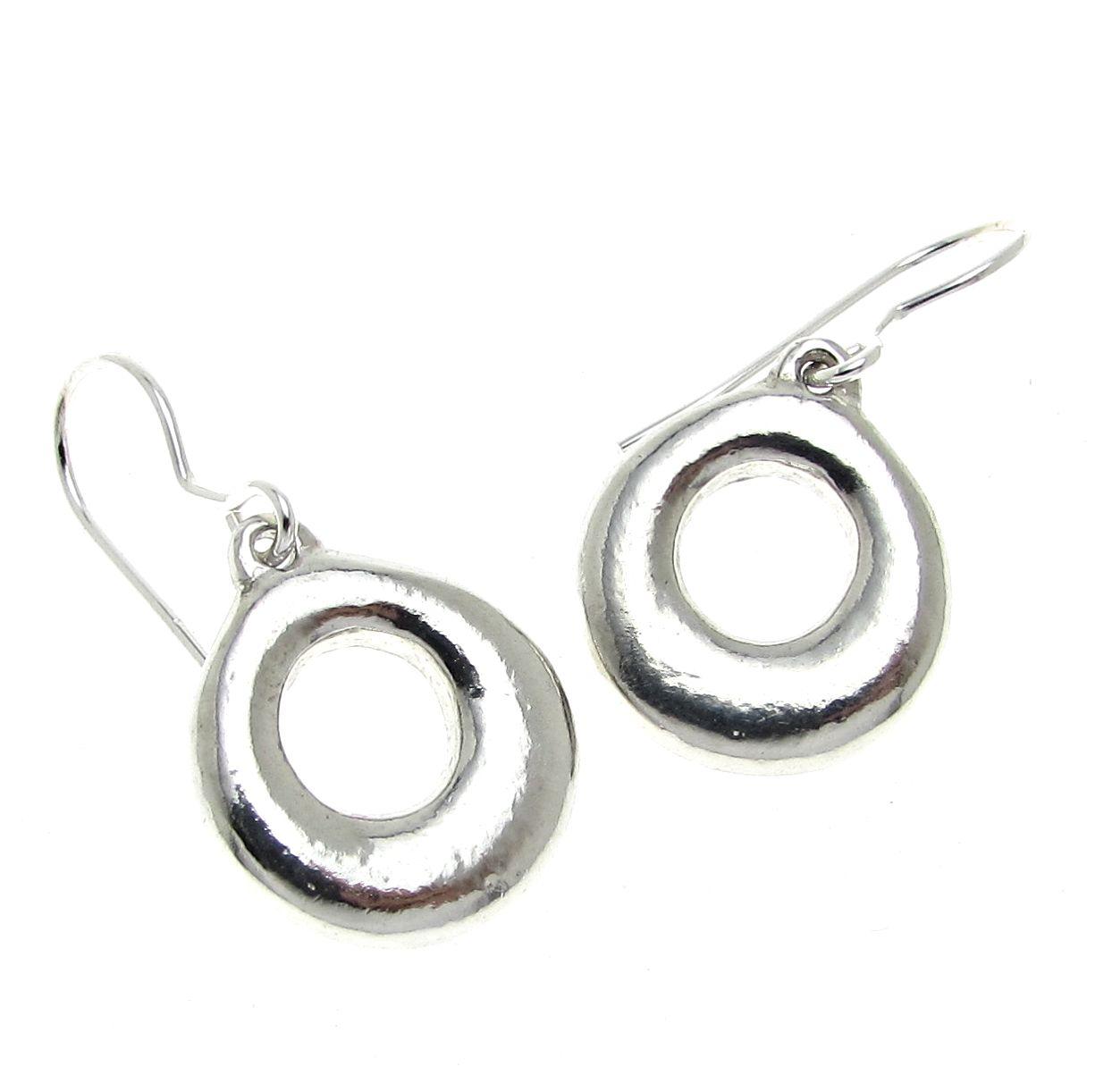 Donut earrings cast in Cornish tin
