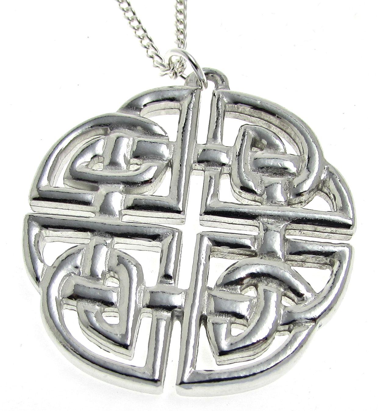 Large celtic knotwork pendant in Cornish tin