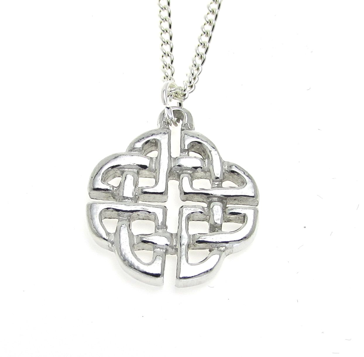Celtic knotwork pendant cast in Cornish tin