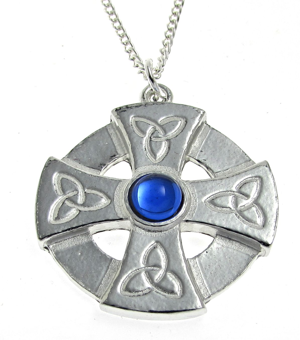 Blue stone set Celtic cross pendant in Cornish tin