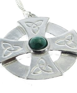 Celtic cross head pendant in Cornish tin with green stone