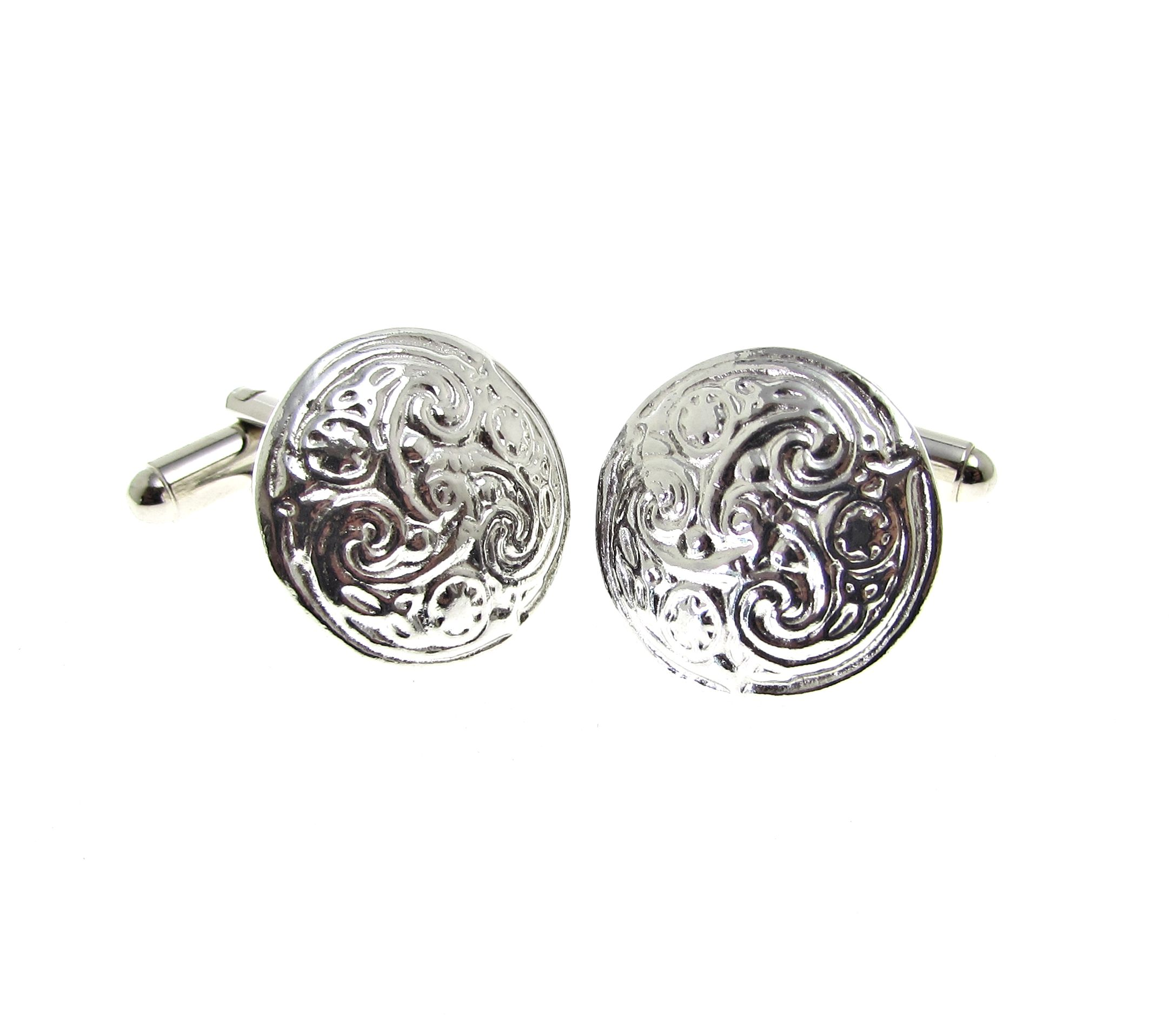 Cornish tin cuff links with swirl pattern