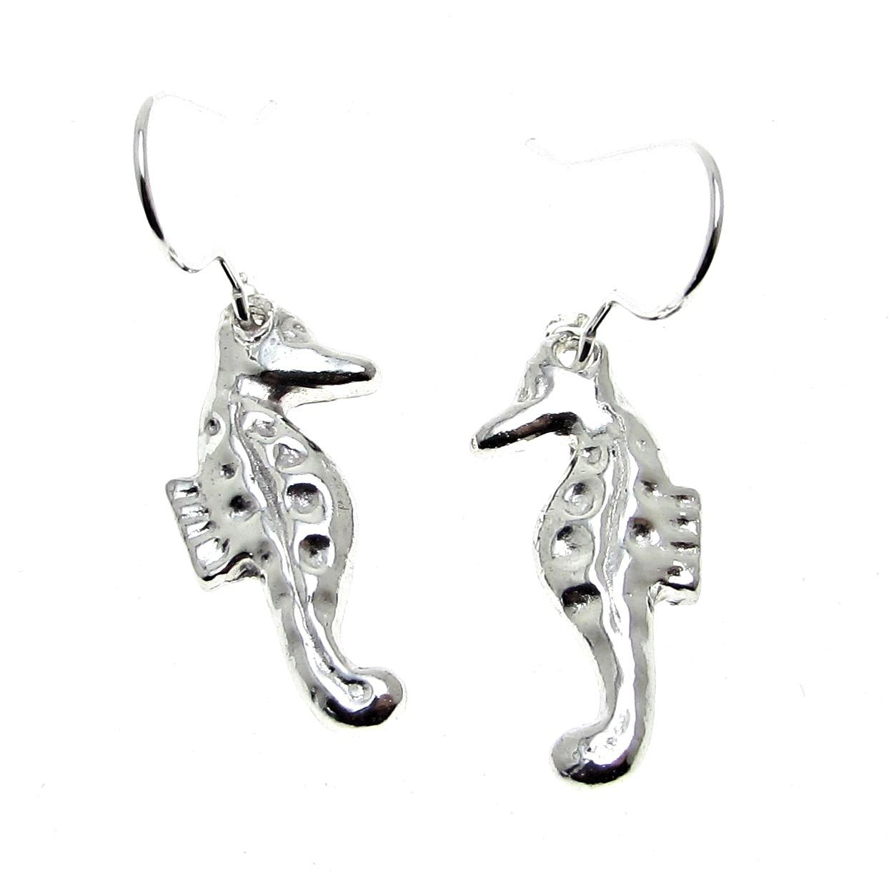 Seahorse earrings in Cornish tin