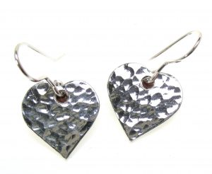 Heart shape earrings cast in Cornish Tin